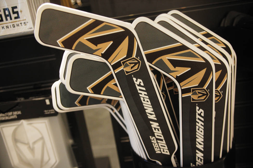 Plastic hockey sticks for sale at the Vegas Golden Knights team store, called the Armory, at the T-Mobile Arena on Monday, June 19, 2017, in Las Vegas. The Armory opens Tuesday at 10 a.m. Rachel A ...