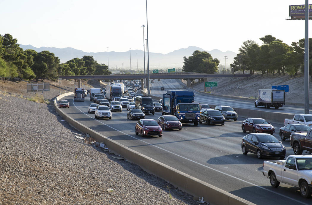 Traffic moves along the southbound Interstate 15 in Las Vegas on Monday, June 19, 2017. (Richard Brian Las Vegas Review-Journal) @vegasphotograph