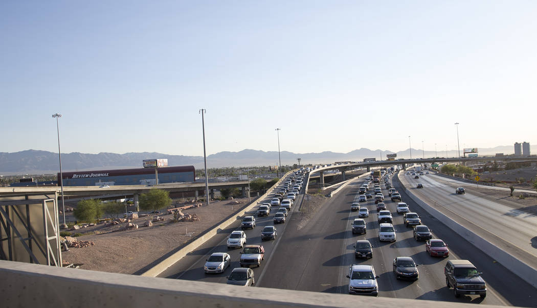 Traffic moves along the southbound I-15 in Las Vegas on Monday, June 19, 2017. Richard Brian Las Vegas Review-Journal @vegasphotograph