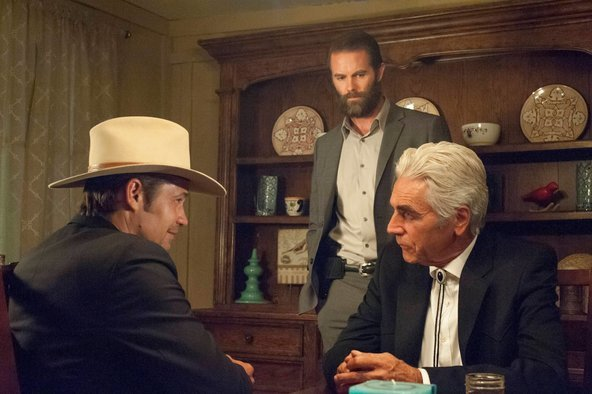 "Timothy Olyphant, left, Garret Dillahunt and Sam Elliott in a scene from Season 6 of ""Justified."" The modern-day Western series' final season is now on Blu-ray and DVD."