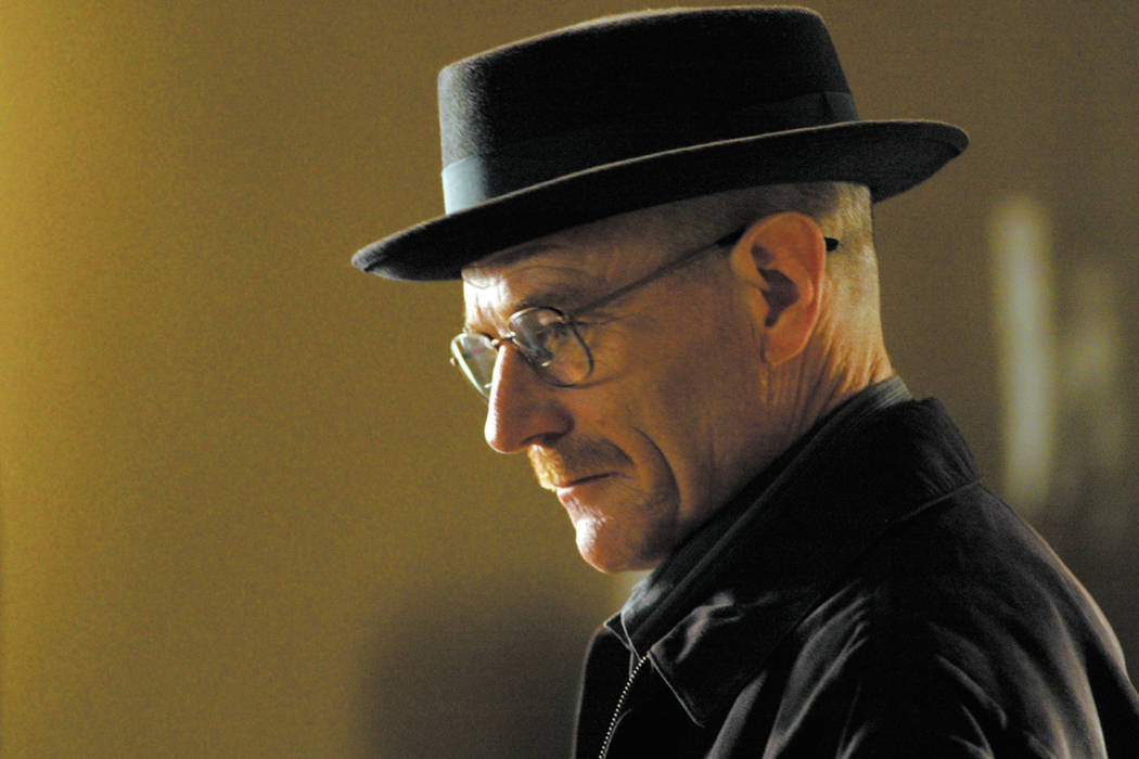 "This image released by AMC shows Walter White, played by Bryan Cranston, wearing a Bollman 1940ճ pork pie hat in a scene from the second season of ""Breaking Bad.""  The series finale of the popula ..."