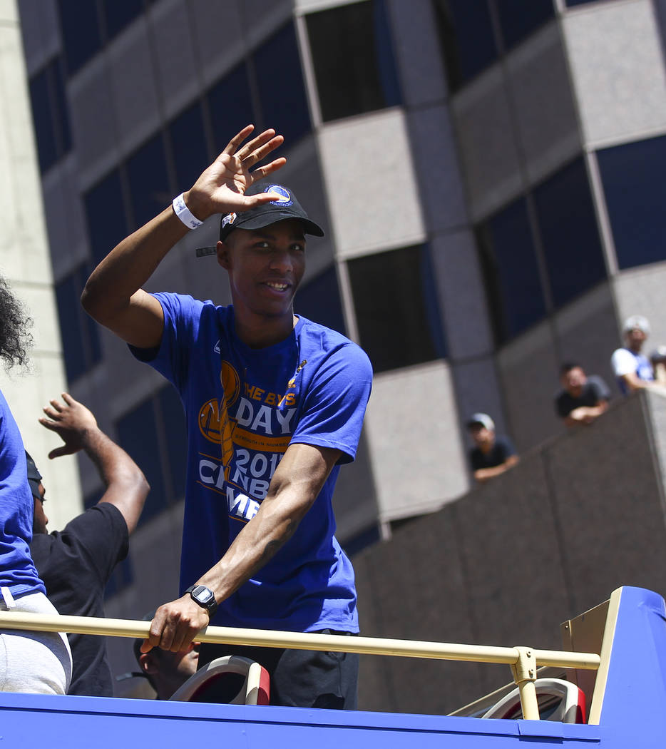 Former UNLV Rebel and Golden State Warriors player Patrick McCaw during the team's victory parade and rally in downtown Oakland, Calif. on Thursday, June 15, 2017. Chase Stevens Las Vegas Review-J ...