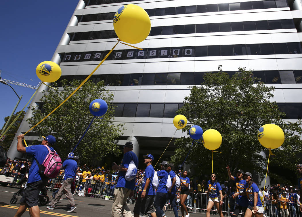 The Golden State Warrior's victory parade and rally in downtown Oakland, Calif. on Thursday, June 15, 2017. Chase Stevens Las Vegas Review-Journal @csstevensphoto