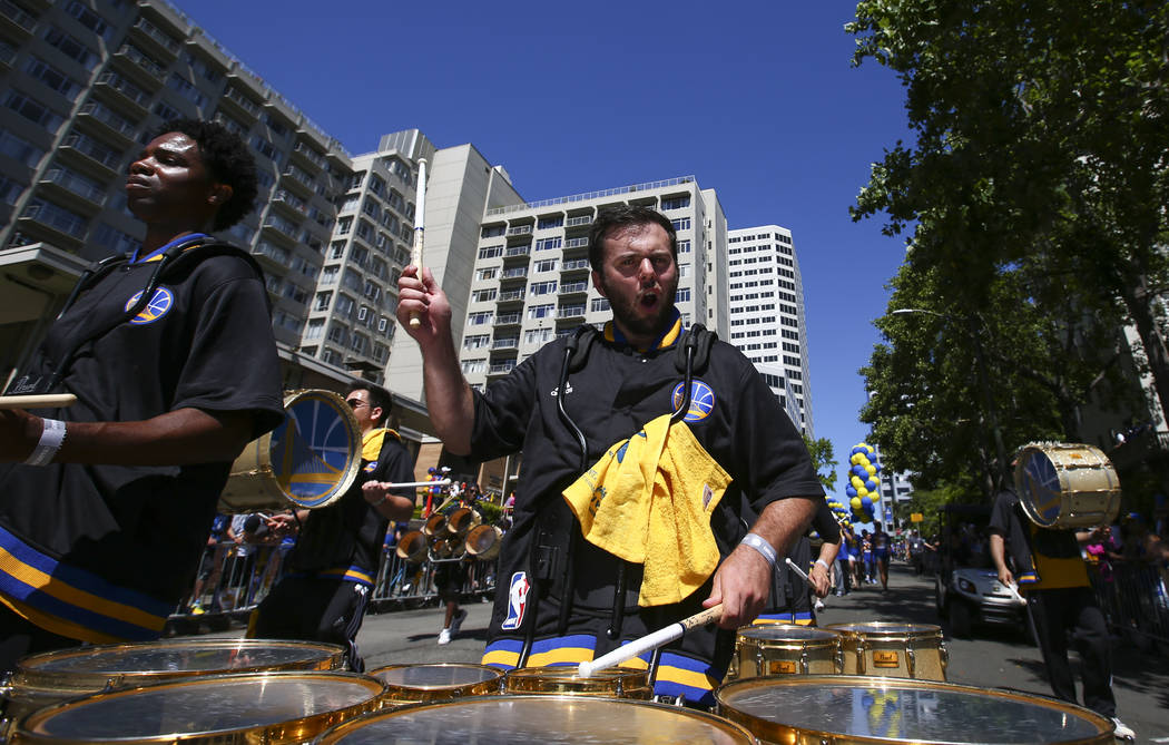 A drummer during the Golden State Warrior's victory parade and rally in downtown Oakland, Calif. on Thursday, June 15, 2017. Chase Stevens Las Vegas Review-Journal @csstevensphoto