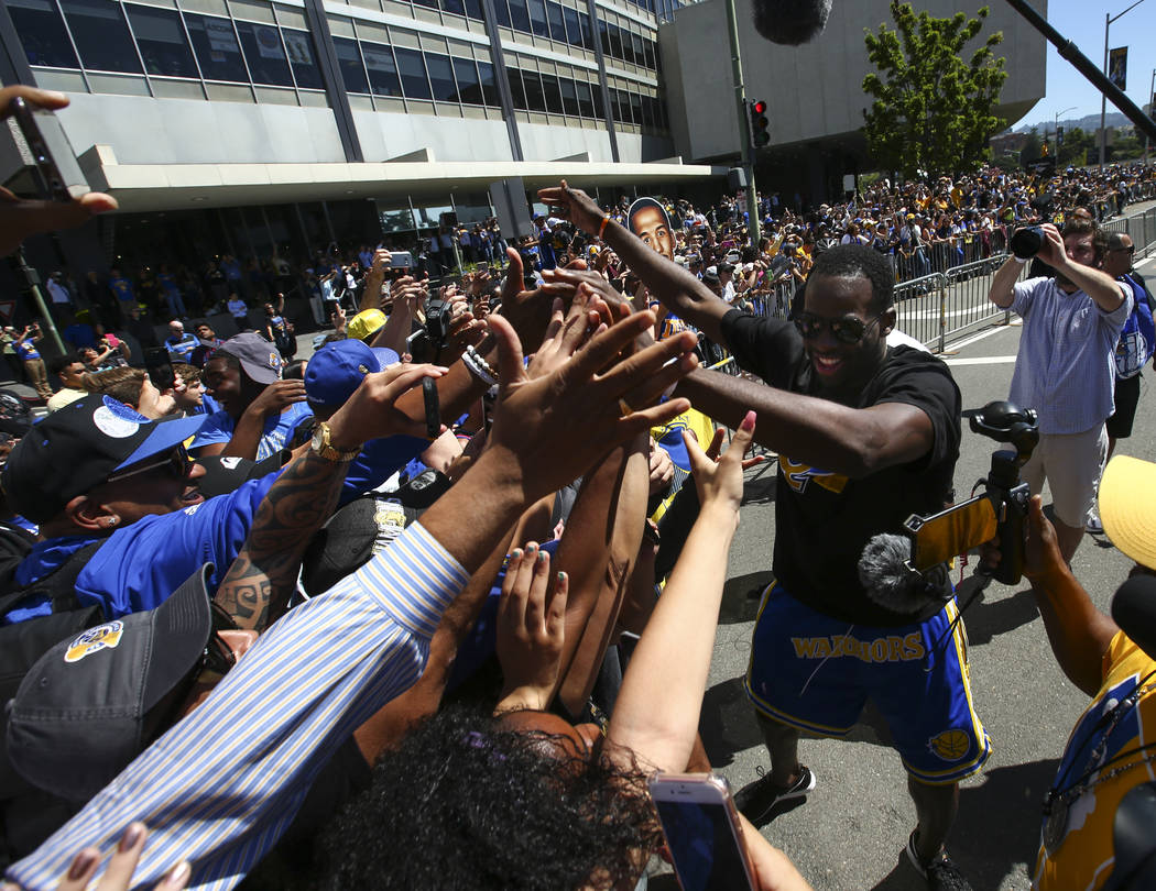 Golden State Warriors' Draymond Green during the team's victory parade and rally in downtown Oakland, Calif. on Thursday, June 15, 2017. Chase Stevens Las Vegas Review-Journal @csstevensphoto