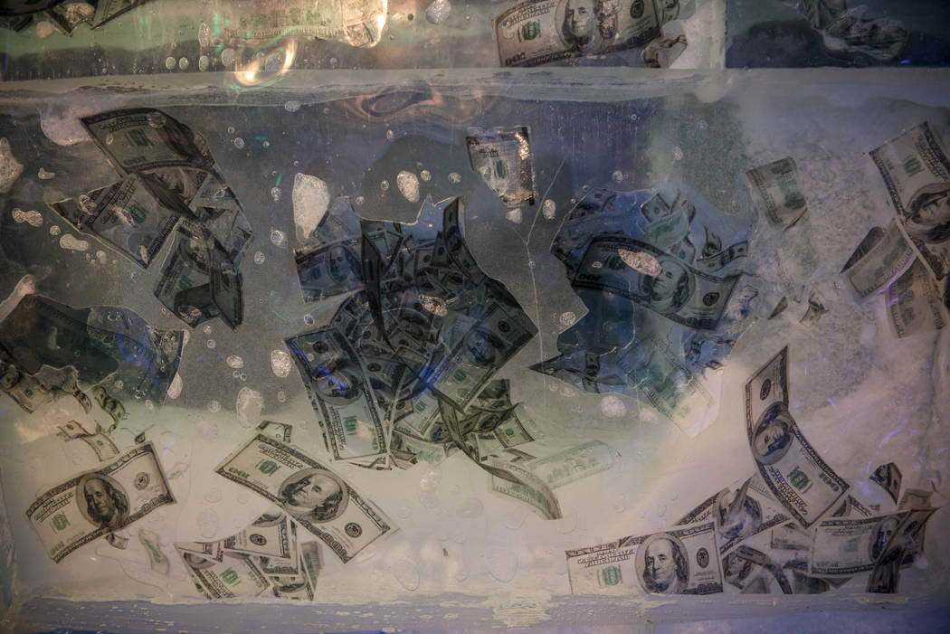 Dollar bills frozen in the walls at the Minus5 Ice Bar at Mandalay Bay Resort and Casino on Thursday, June 15, 2017, in Las Vegas. Morgan Lieberman Las Vegas Review-Journal
