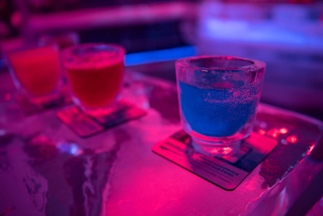 Drinks are served in cups made out of ice at Minus5 Ice Experience at Mandalay Bay Resort and Casino on Thursday, June 15, 2017, in Las Vegas. A new Minus5 ice bar will open up at The Venetian Res ...