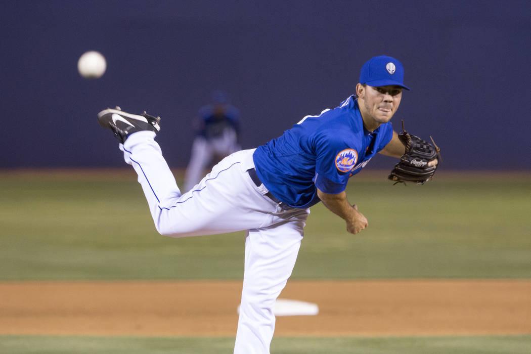 Las Vegas 51s pitcher Tyler Pill (Bridget Bennett Las Vegas Review-Journal @bridgetkbennett)