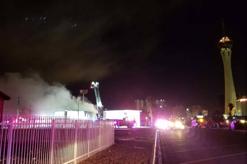 Firefighters are battling a vacant building fire Friday morning near downtown Las Vegas. (Mike Shoro/Las Vegas Review-Journal)