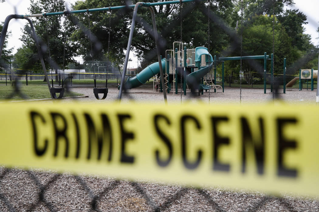 A playground near the baseball field is cordoned off with police tape as the investigation continue at the scene in Alexandria, Va., Thursday, June 15, 2017, the day after House Majority Whip Stev ...