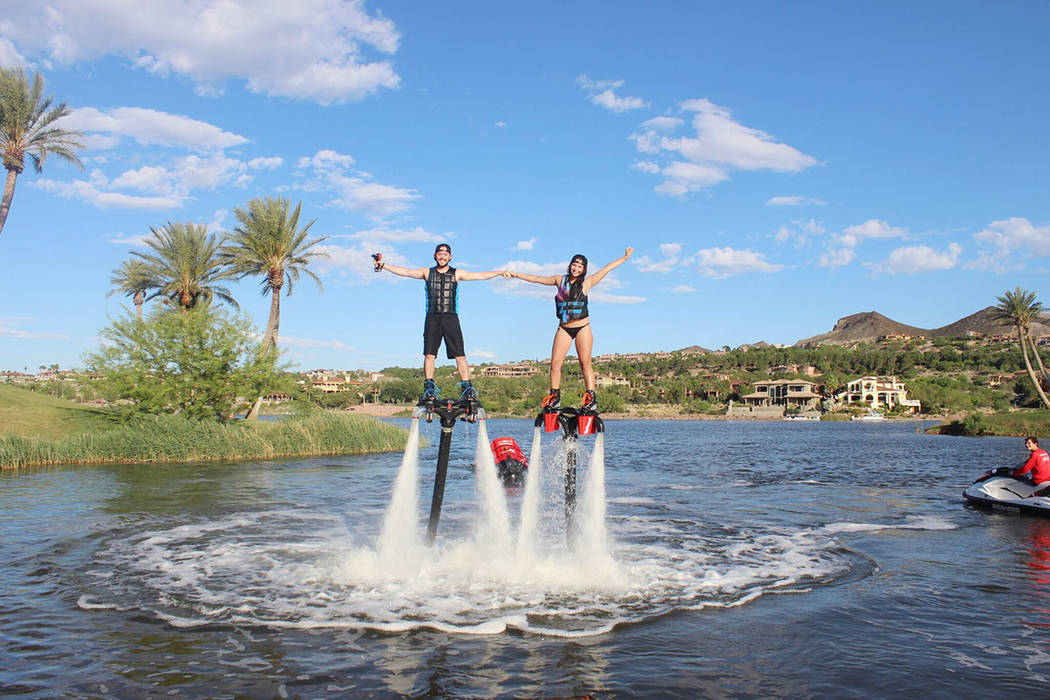 The community's 320-acre man-made lake is the hub of summer activities. (Lake Las Vegas)