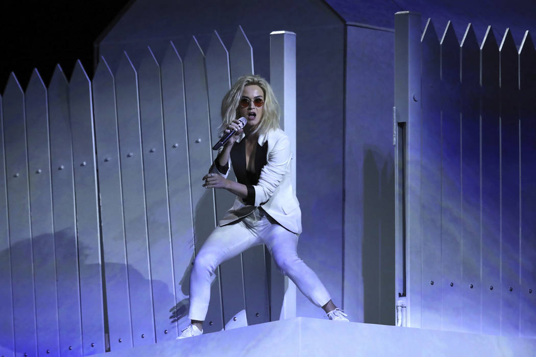 """Katy Perry performs """"Chained to the Rhythm"""" at the 59th annual Grammy Awards on Sunday, Feb. 12, 2017, in Los Angeles. (Photo by Matt Sayles/Invision/AP)"""