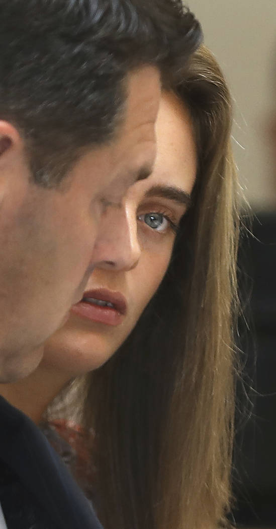 Michelle Carter sits with her defense attorney Joe Cataldo  during cross examination of defense witness Dr. Peter Breggin (not seen) during her trial at Taunton Juvenile Court in Taunton, Mass., T ...