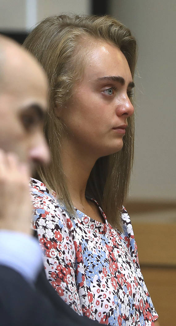 Michelle Carter looks on after closing arguments were made during her trail Tuesday, June 13, 2017, in Bristol Juvenile Court in Taunton, Mass. Carter is charged with involuntary manslaughter for  ...