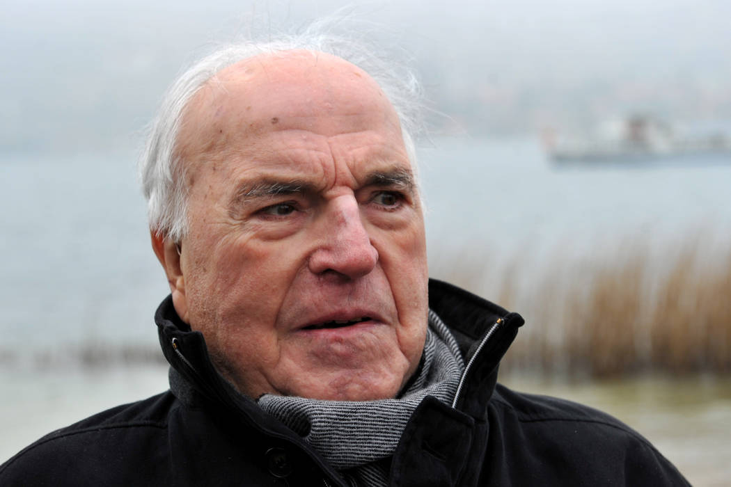 The April 5, 2013 file photo shows former German Chancellor Helmut Kohl on the shore of Lake Tegernsee in Bad Wiessee, southern Germany. (Frank Leonhardt/via AP)