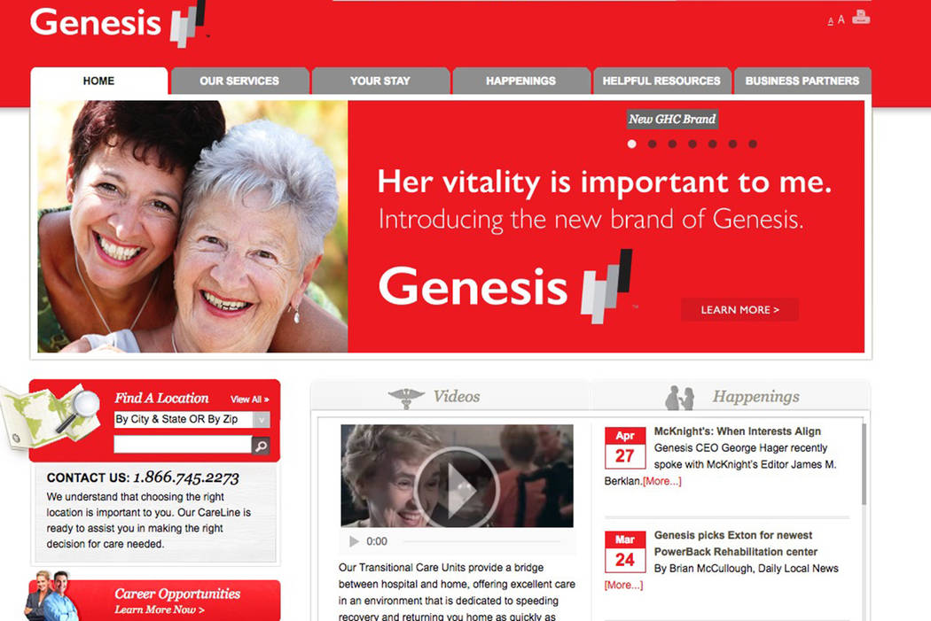 The nursing home giant owns and operates nursing facilities, senior living facilities, and a rehabilitation therapy business. (Screenshot/genesishcc.com)