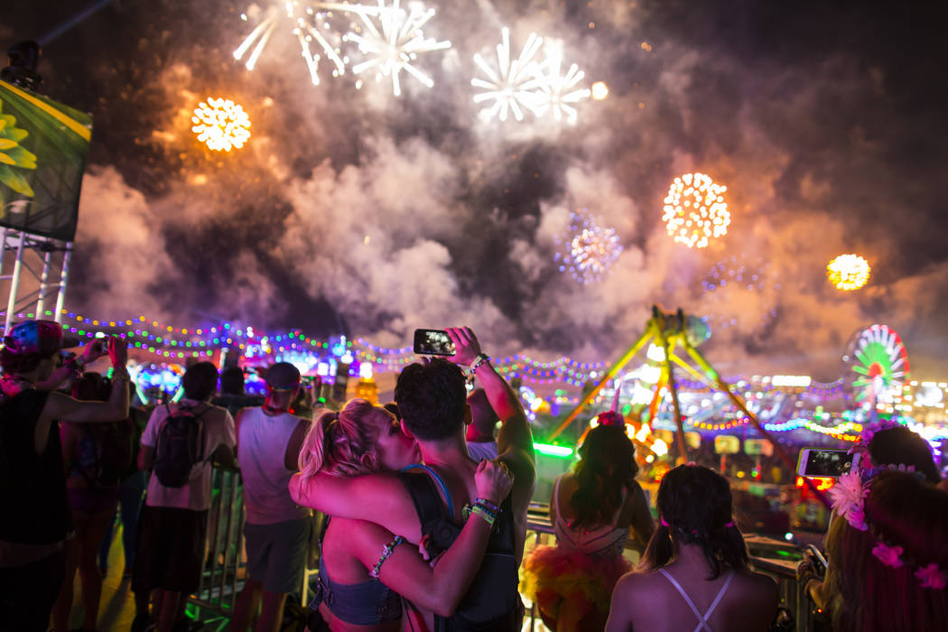 Attendees watch fireworks go off during the first night of Electric Daisy Carnival at the Las Vegas Motor Speedway in Las Vegas during the early hours of Saturday, June 18, 2016. Chase Stevens/Las ...