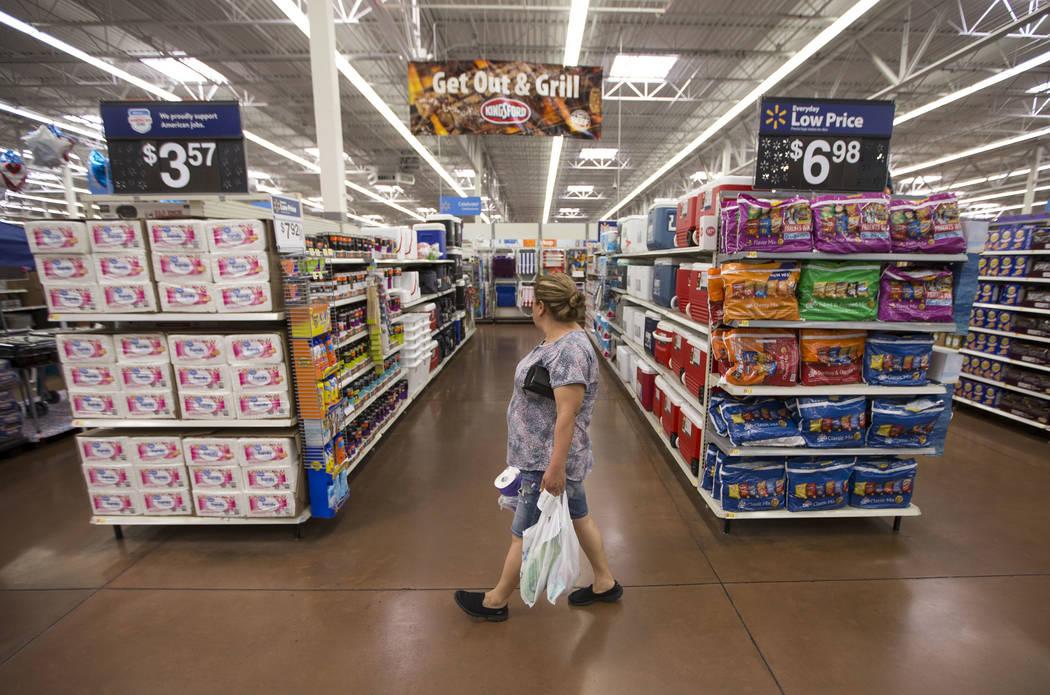 A woman shops at a Walmart store in Las Vegas on Tuesday, June 20, 2017. (Richard Brian/Las Vegas Review-Journal) @vegasphotograph