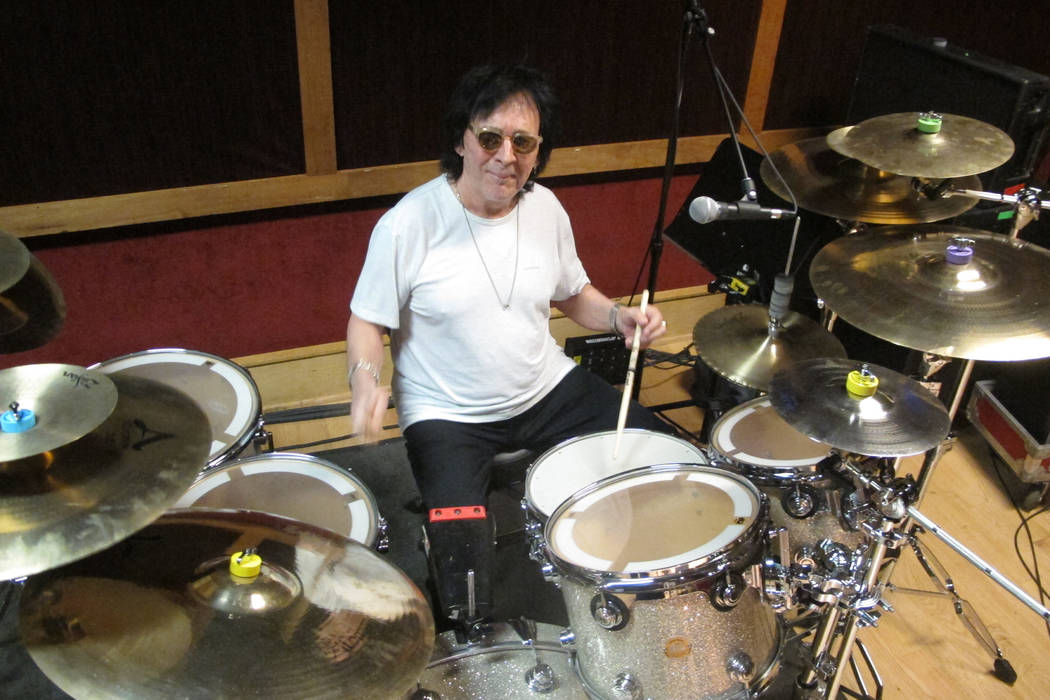 In this June 15, 2017 photo, drummer and vocalist Peter Criss rehearses in a New York City studio for his final U.S. performance on Saturday, June 17. The co-founding member of Kiss best known for ...