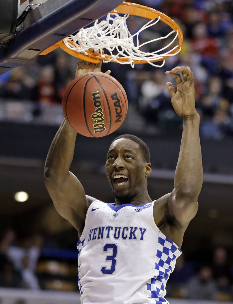 Kentucky forward Bam Adebayo (3) gets a dunk against Wichita State during the second half of a second-round game in the mens NCAA college basketball tournament in Indianapolis, Sunday, March 19, 2 ...