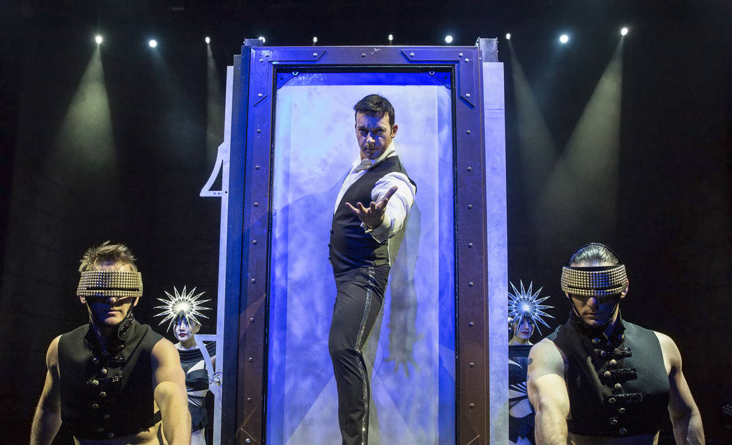 Illusionist David Goldrake, middle, rehearses for his new show Imaginarium on Thursday, June 22, 2017, at the Tropicana Theater, in Las Vegas. Benjamin Hager Las Vegas Review-Journal @benjaminhphoto