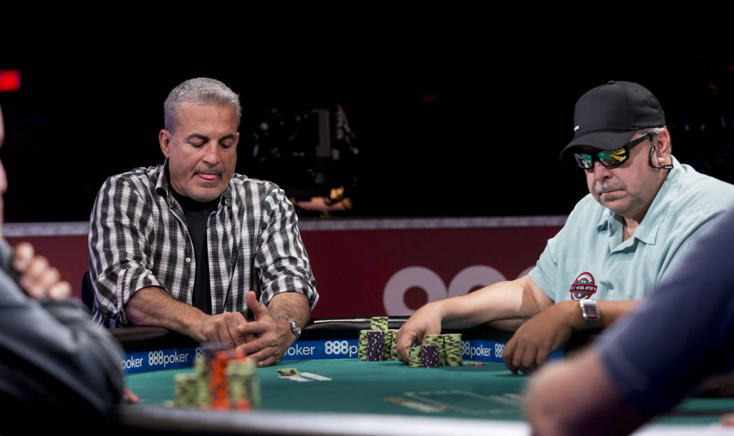 Frank Maggio, left, and Dieter Dechant play in the $1,000  buy-in Seniors No-limit Hold 'em Championship at the Rio Convention Center in Las Vegas, Monday, June 19, 2017. Elizabeth Brumley/ The La ...