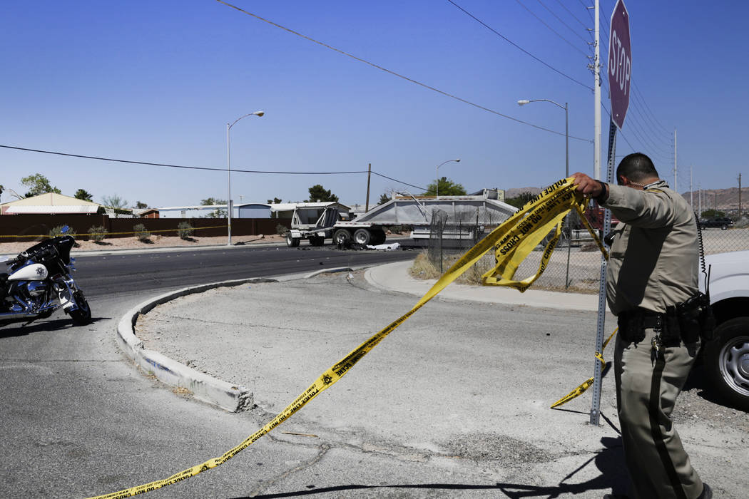 One person is dead after a crash involving a semitruck and a motorcycle at East Carey Avenue and Marion Drive on Friday, June 16, 2017. Gabriella Angott-Jones Las Vegas Review- Journal @gabriellaa ...