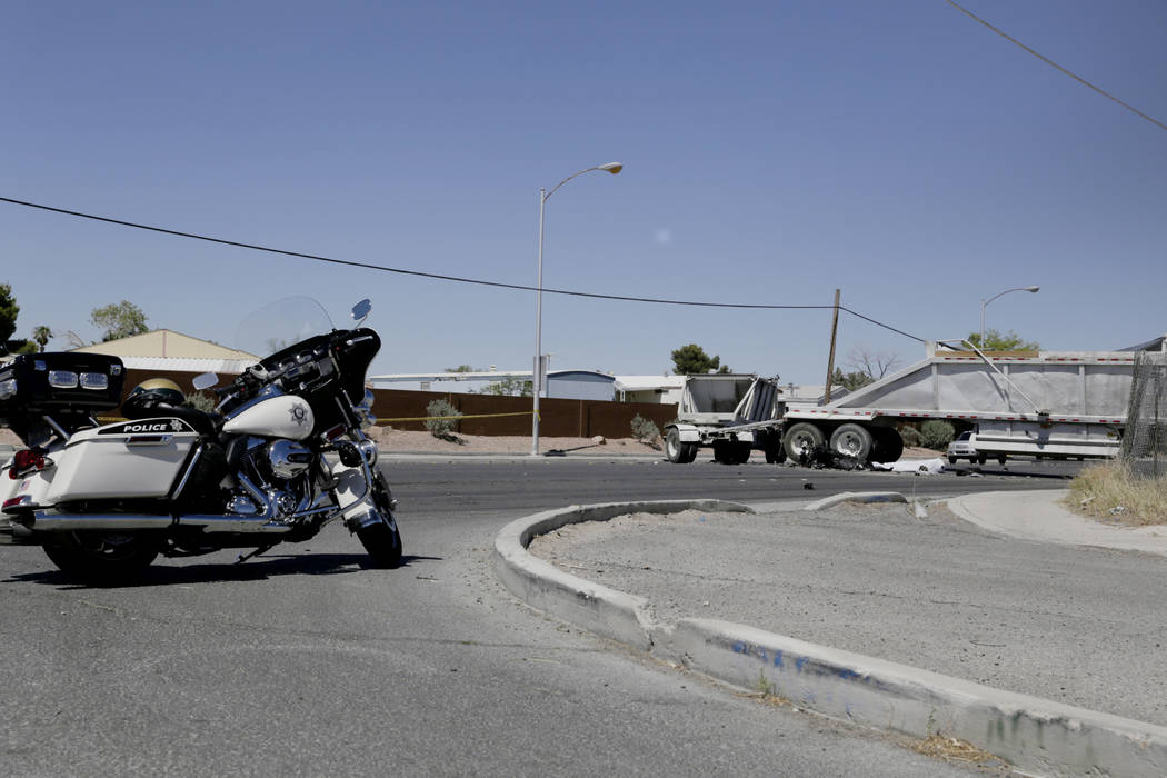 A fatal collision between a motorcyclist and a semi truck Is seen at East Carey Avenue and Marion Drive. The motorcyclist was pronounced deceased by the Las Vegas Metropolitan Police Department. G ...