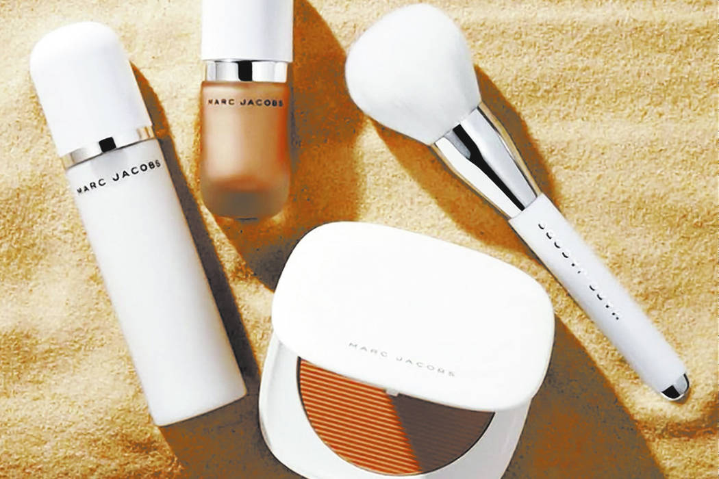 "O!mega Bronze Coconut Perfect Tan bronzer,  ""Dew Drops"" Coconut Gel Highlighter and Re(Cover) Perfecting Coconut Setting Mist. (Marc Jacobs)"