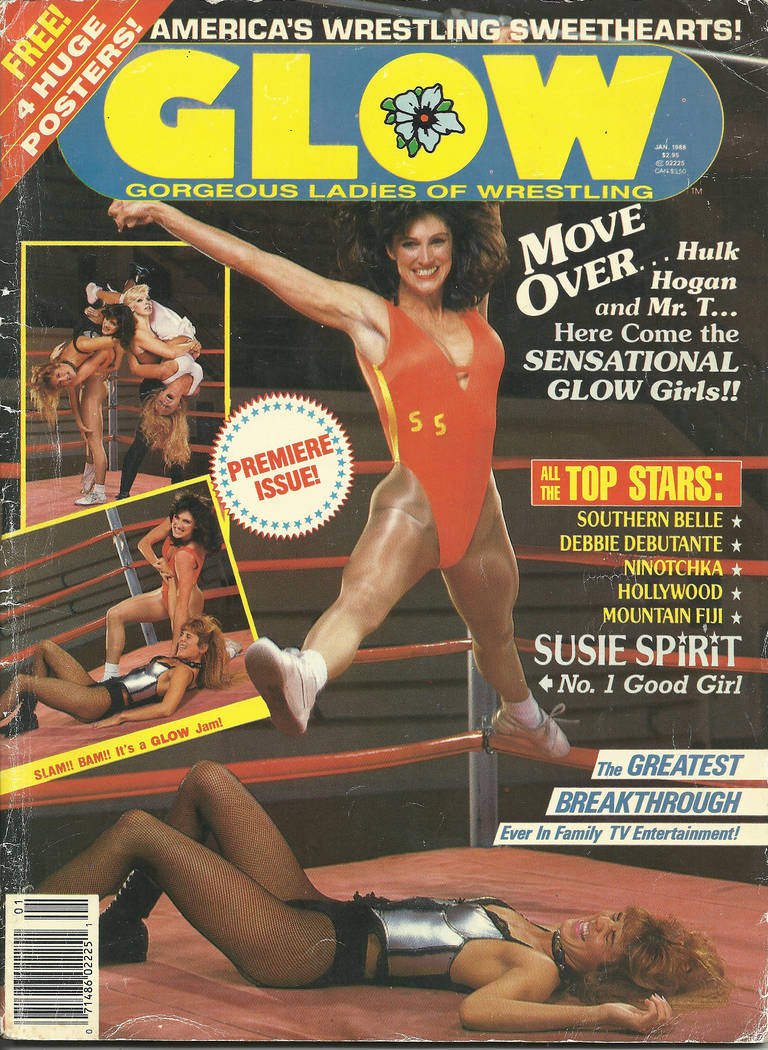 Susie Spirit (Lauri S. Thompson) appears on the cover of the first issue of GLOW magazine. (gorgeousladiesofwrestling.com)