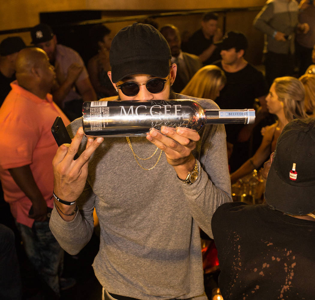 JaVale McGee of the Golden State Warriors shows off his Belevedere decanter at Drai's at the Cromwell on Thursday, June 15 2017. (Drais)