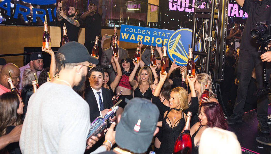 The Golden State Warriors celebrate at Drai's Nightclub atop The Cromwell in Las Vegas on Thursday. (Tony Tran Photography)