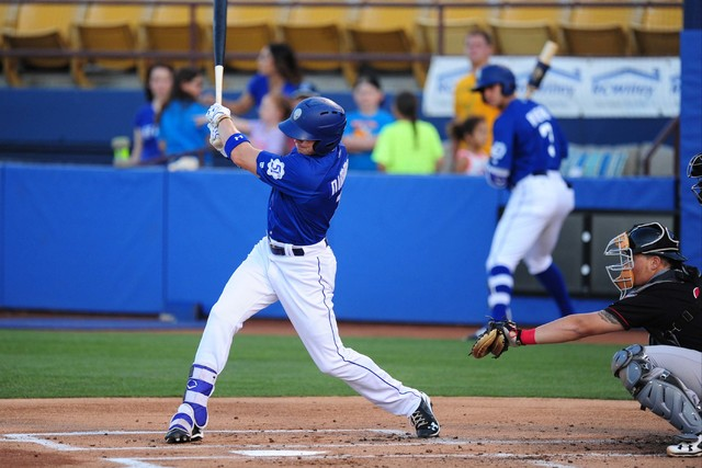 Las Vegas 51s batter Brandon Nimmo hits a single against the Nashville Sounds in the first inning of their minor league baseball game at Cashman Field in Las Vegas Monday, May 23, 2016. Josh Holmb ...