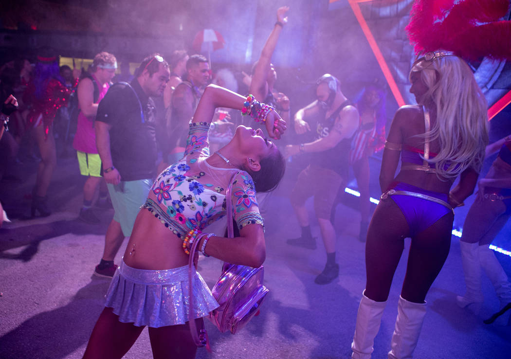 Marilyn Monroy from the Bay Area dances at the Upside-down House on the first night of Electric Daisy Carnival at Las Vegas Motor Speedway on Friday, June 16, 2017 in Las Vegas. Bridget Bennett La ...