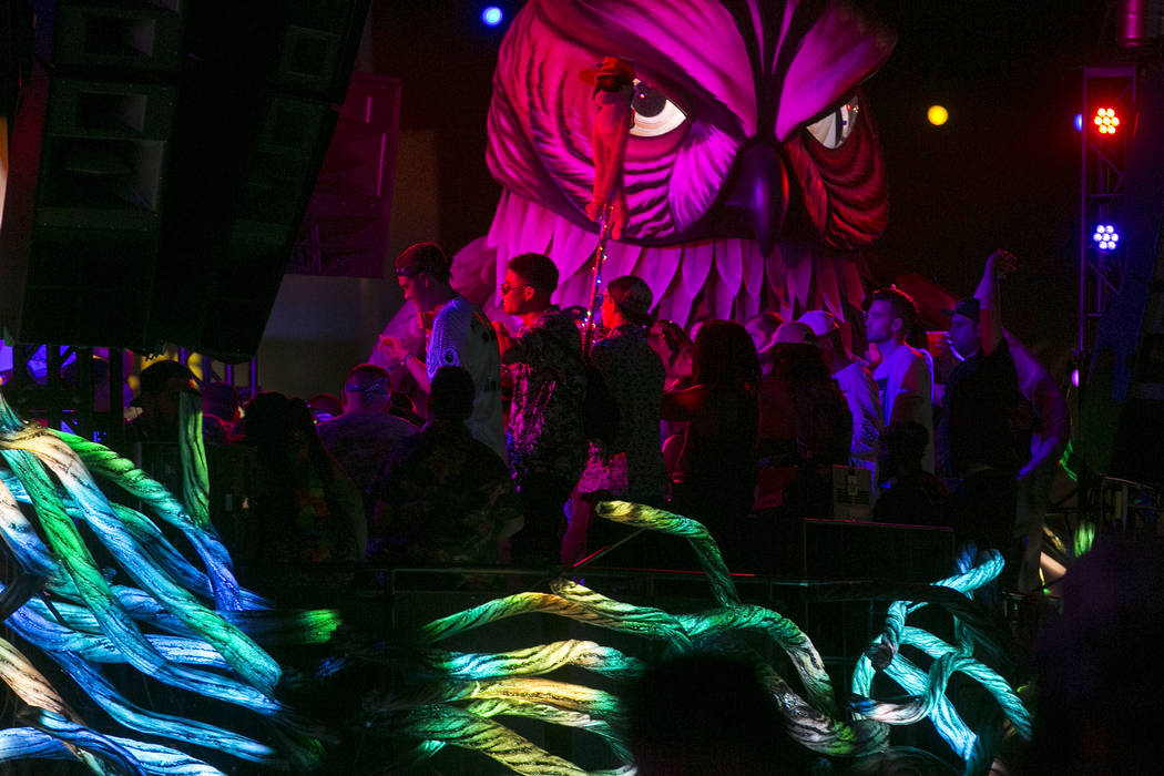 Attendees dance to Dr. Fresch on Parliament art car, the newest addition to the festival's art cars, on the first night of Electric Daisy Carnival at Las Vegas Motor Speedway on Friday, June 16, 2 ...