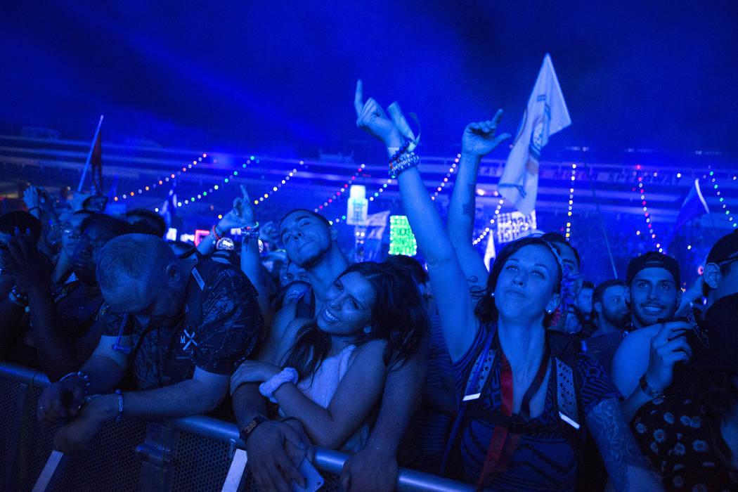 Attendees enjoy Major Lazer's set at Cosmic Meadows on the first night of Electric Daisy Carnival at Las Vegas Motor Speedway on Saturday, June 17, 2017 in Las Vegas. Bridget Bennett Las Vegas Rev ...