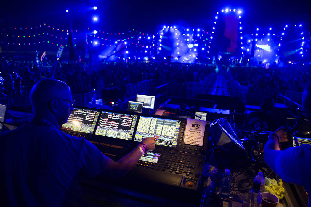 Steve Lieberman works the lights at Circuit Grounds on the first night of Electric Daisy Carnival at Las Vegas Motor Speedway in the early morning of Saturday, June 17, 2017 in Las Vegas. Bridget  ...