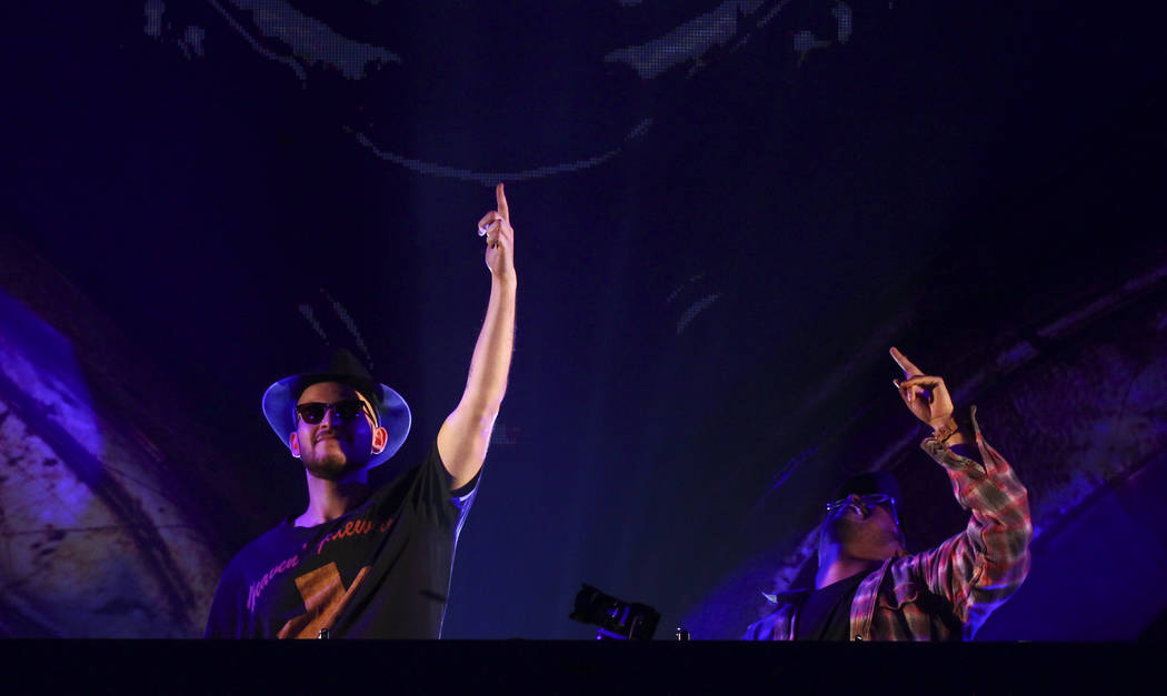 Matt Toth, left, and Julio Mejia of GTA perform at the Kinetic Field stage during the first day of the Electric Daisy Carnival at the Las Vegas Motor Speedway on Friday, June 16, 2017. Chase Steve ...