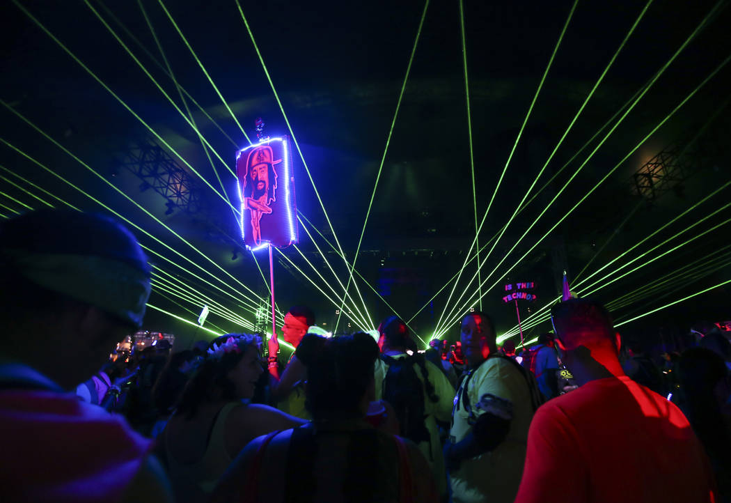 A totem above the crowd as John Askew performs during the first day of the Electric Daisy Carnival at the Las Vegas Motor Speedway on Friday, June 16, 2017. Chase Stevens Las Vegas Review-Journal  ...