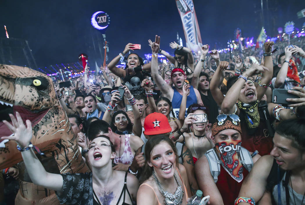 Fans dance to Zedd at the Circuit Grounds stage during the first day of the Electric Daisy Carnival at the Las Vegas Motor Speedway on Saturday, June 17, 2017. Chase Stevens Las Vegas Review-Journ ...
