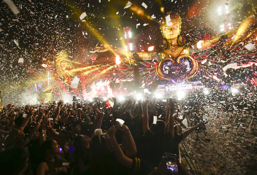 Confetti flies in the air as Hardwell performs during the first day of the Electric Daisy Carnival at the Las Vegas Motor Speedway on Saturday, June 17, 2017. Chase Stevens Las Vegas Review-Journa ...