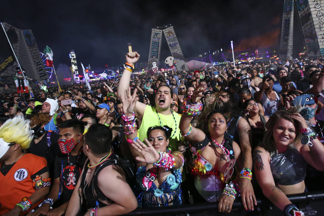 Fans dance to Angerfist at the Wasteland stage during the first day of the Electric Daisy Carnival at the Las Vegas Motor Speedway on Saturday, June 17, 2017. Chase Stevens Las Vegas Review-Journa ...