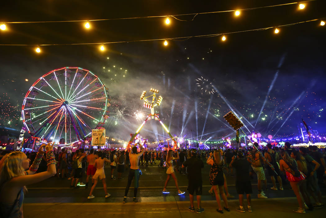 Fireworks go off during the first day of the Electric Daisy Carnival at the Las Vegas Motor Speedway on Saturday, June 17, 2017. Chase Stevens Las Vegas Review-Journal @csstevensphoto