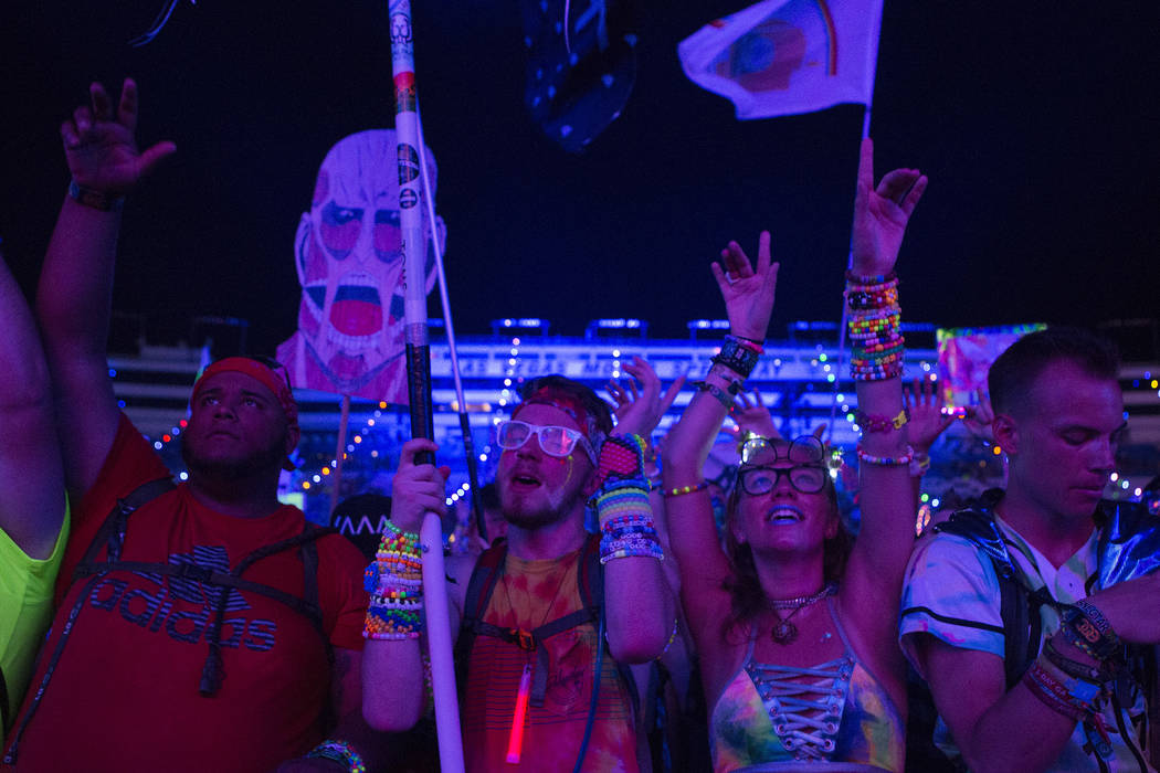 The crowd swells for San Holo's set at Cosmic Meadow on the first night of Electric Daisy Carnival at Las Vegas Motor Speedway on Friday, June 16, 2017 in Las Vegas. Bridget Bennett Las Vegas Revi ...