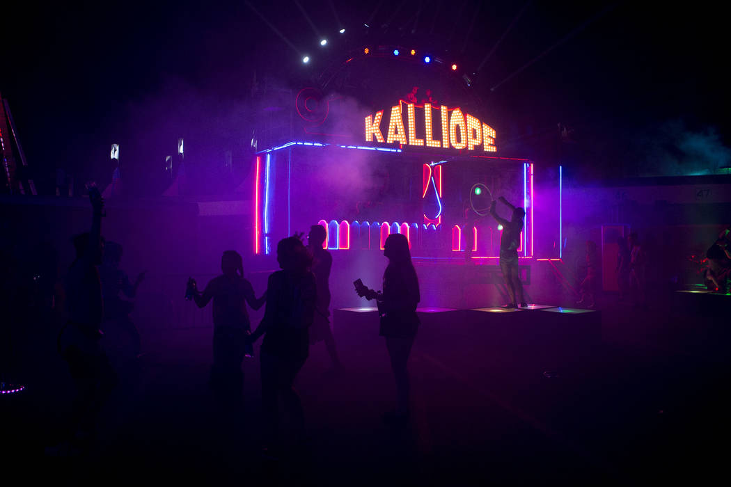 Attendees dance in front of the Kalliope art car on the first night of Electric Daisy Carnival at Las Vegas Motor Speedway on Friday, June 16, 2017 in Las Vegas. Bridget Bennett Las Vegas Review-J ...