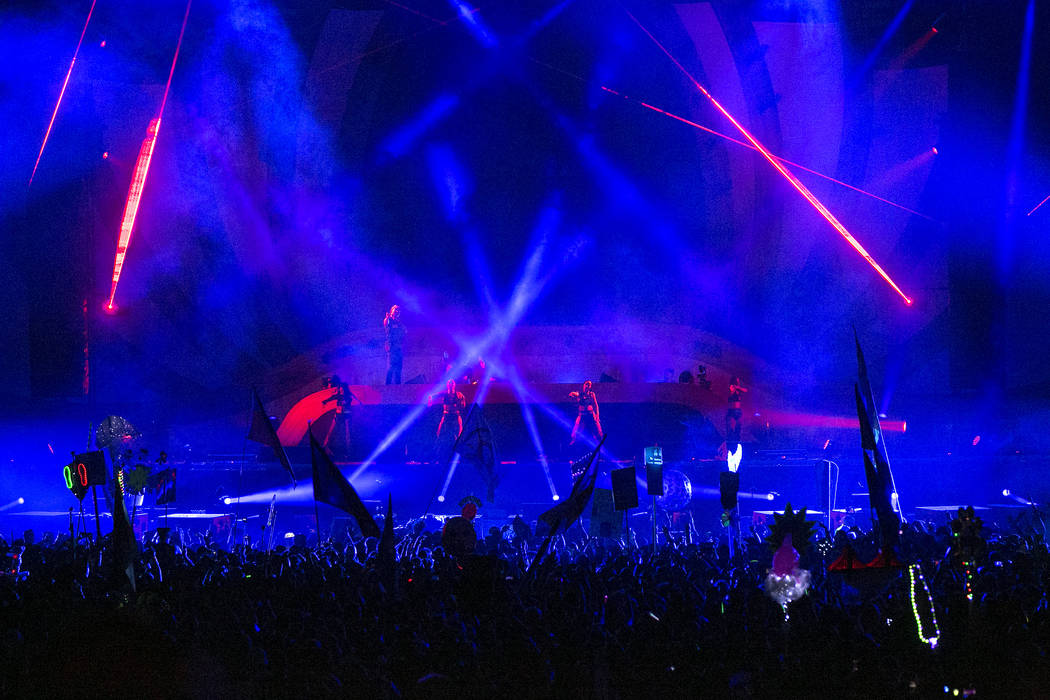 Dancers perform during Major Lazer's set at Cosmic Meadows on the first night of Electric Daisy Carnival at Las Vegas Motor Speedway on Saturday, June 17, 2017 in Las Vegas. Bridget Bennett Las Ve ...