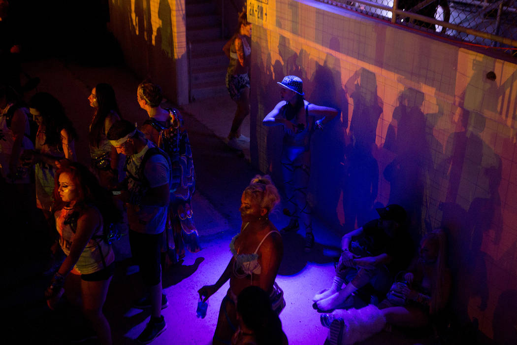 Attendees watch Major Lazer's set at Cosmic Meadows on the first night of Electric Daisy Carnival at Las Vegas Motor Speedway on Saturday, June 17, 2017 in Las Vegas. Bridget Bennett Las Vegas Rev ...