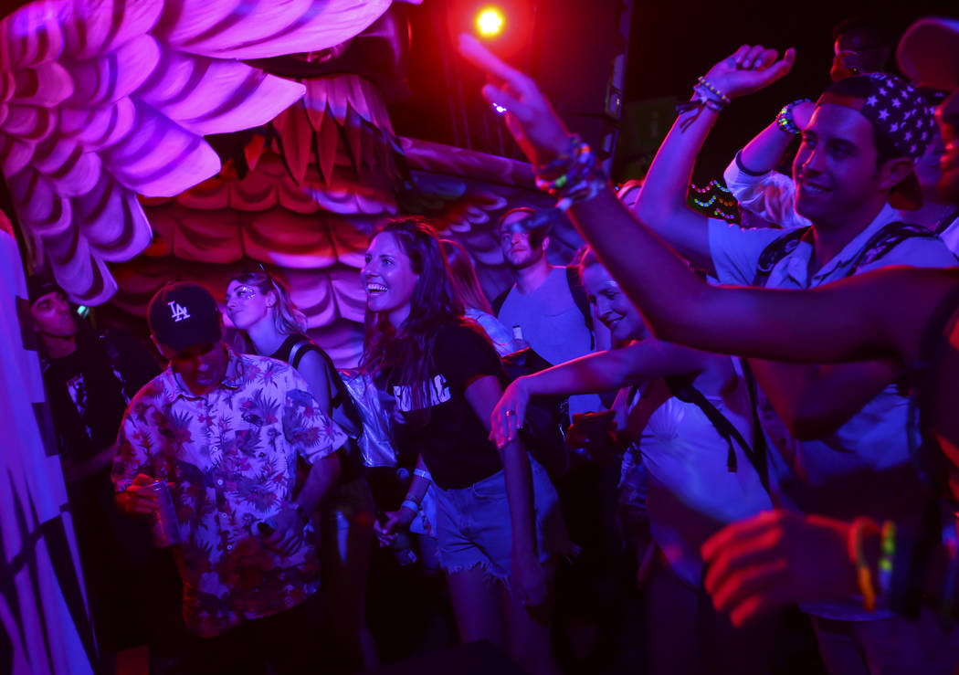 Fans dance as Dr. Fresch performs at the parliament art car during the first day of the Electric Daisy Carnival at the Las Vegas Motor Speedway on Friday, June 16, 2017. Chase Stevens Las Vegas Re ...