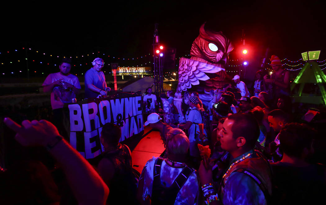 Dr. Fresch, second from left, performs at the parliament art car during the first day of the Electric Daisy Carnival at the Las Vegas Motor Speedway on Friday, June 16, 2017. Chase Stevens Las Veg ...