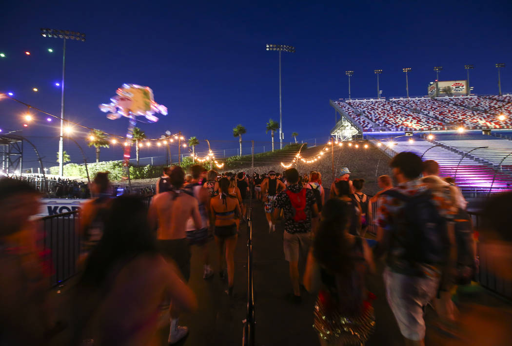Fans make their way out of the Las Vegas Motor Speedway as the first day of the Electric Daisy Carnival nears its end on Saturday, June 17, 2017. Chase Stevens Las Vegas Review-Journal @csstevensphoto